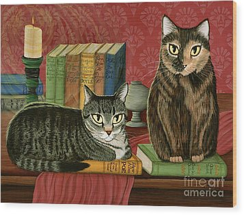 Classic Literary Cats Wood Print by Carrie Hawks