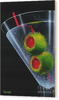 Classic Martini Wood Print by Michael Godard