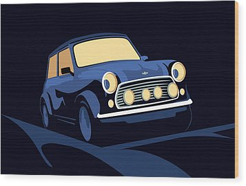 Classic Mini Cooper In Blue Wood Print by Michael Tompsett