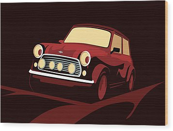 Classic Mini Cooper In Red Wood Print by Michael Tompsett
