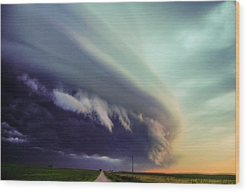 Classic Nebraska Shelf Cloud 027 Wood Print