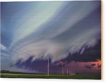 Classic Nebraska Shelf Cloud 028 Wood Print