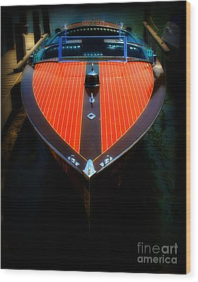 Classic Wooden Boat Wood Print by Perry Webster