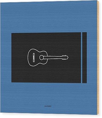 Classical Guitar In Blue Wood Print by David Bridburg