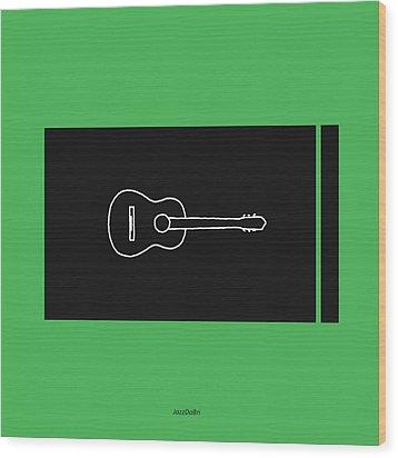 Classical Guitar In Green Wood Print by David Bridburg