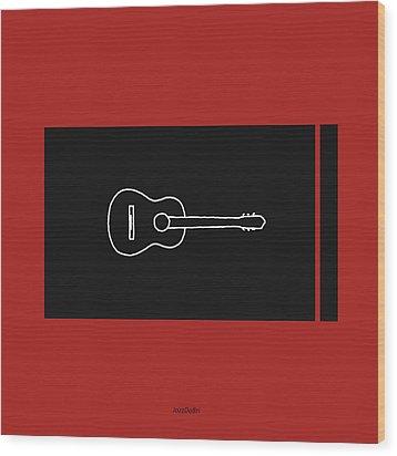 Classical Guitar In Orange Red Wood Print by David Bridburg