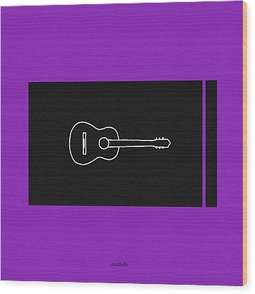 Classical Guitar In Purple Wood Print by David Bridburg