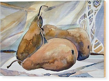 Classical Pears Wood Print by Mindy Newman