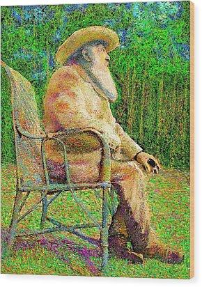 Claude Monet In His Garden Wood Print by Hidden Mountain