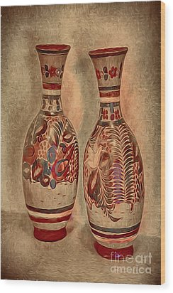 Clay  Pottery  ... Wood Print by Chuck Caramella
