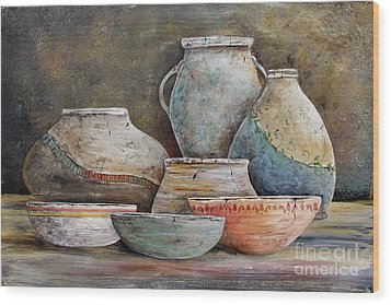 Wood Print featuring the painting Clay Pottery Still Lifes-a by Jean Plout