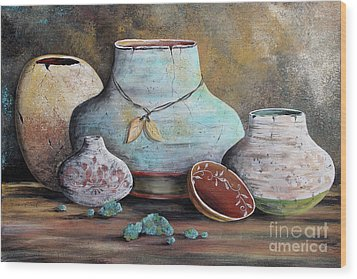 Wood Print featuring the painting Clay Pottery Still Lifes-b by Jean Plout