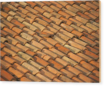 Clay Roof Tiles Wood Print by David Buffington