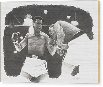 Wood Print featuring the drawing Clay Vs Liston 1 by Noe Peralez