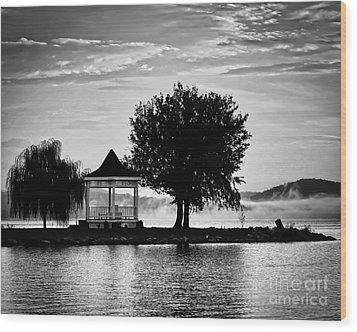 Claytor Lake Gazebo - Black And White Wood Print