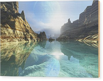 Clear Canyon River Waters Reflect Wood Print by Corey Ford
