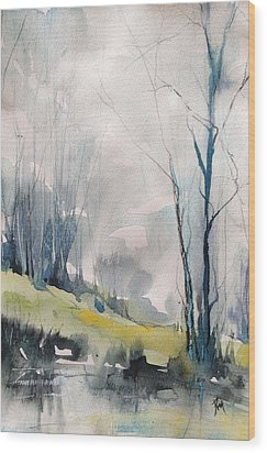 Clearing By The Riverbank Wood Print by Robin Miller-Bookhout