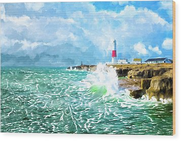 Wood Print featuring the mixed media Clearing Storm - Portland Bill Lighthouse by Mark Tisdale