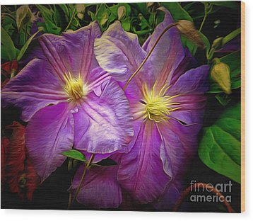 Clematis Azure Pearl Wood Print by Dorothy Berry-Lound
