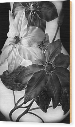 Clematis Overlay Wood Print