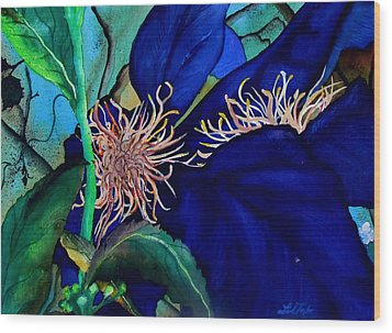 Clematis Regal In Purple And Blue Sold Wood Print by Lil Taylor