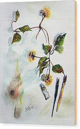 Wood Print featuring the painting Clematis Seed Pods Still Life And Objects by Ginette Callaway