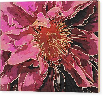 Clematis Up Close And Personal Wood Print