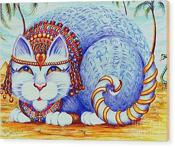 Wood Print featuring the drawing Cleocatra by Dee Davis
