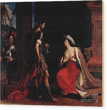Wood Print featuring the painting Cleopatra And Octavian by Pg Reproductions
