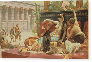 Cleopatra Testing Poisons On Those Condemned To Death Wood Print by Alexandre Cabanel
