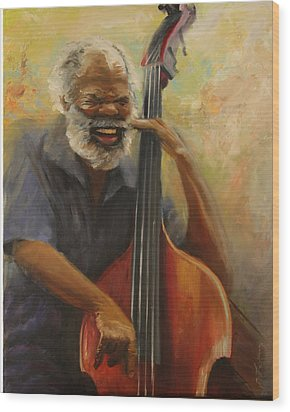 Cleve Playing The Jazz Wood Print by Jill Holt