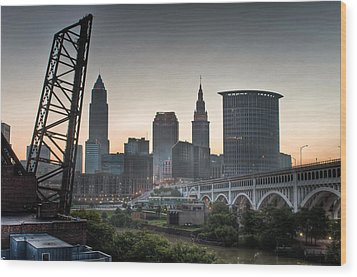 Cleveland Awakens Wood Print by At Lands End Photography