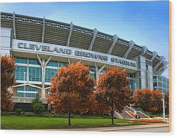 Cleveland Browns Stadium Wood Print by Kenneth Krolikowski