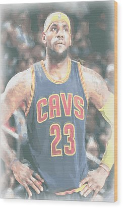 Cleveland Cavaliers Lebron James 5 Wood Print