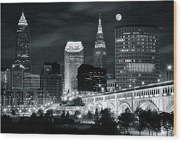 Cleveland Iconic Night Lights Wood Print