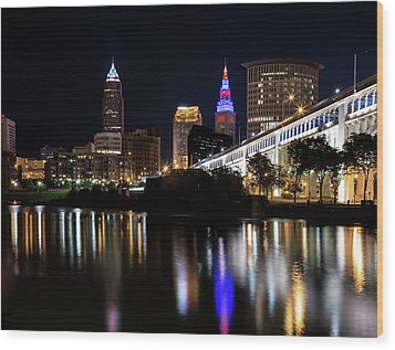 Wood Print featuring the photograph Cleveland In The World Series 2016 by Dale Kincaid