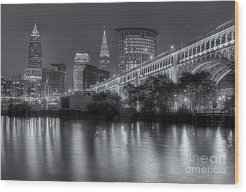 Cleveland Night Skyline IIi Wood Print