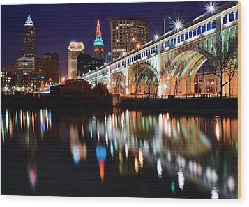 Cleveland Ohio Skyline Wood Print by Frozen in Time Fine Art Photography