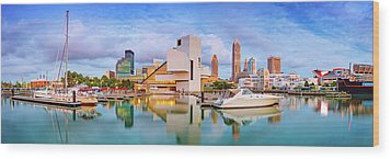 Wood Print featuring the photograph Cleveland  Pano 1  by Emmanuel Panagiotakis