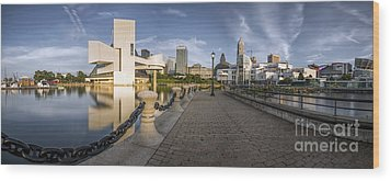 Cleveland Panorama Wood Print by James Dean