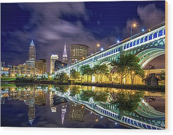 Wood Print featuring the photograph Cleveland Skyline 4 by Emmanuel Panagiotakis