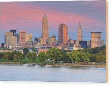 Wood Print featuring the photograph Cleveland Skyline 6 by Emmanuel Panagiotakis