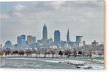 Cleveland Skyline In Winter Wood Print