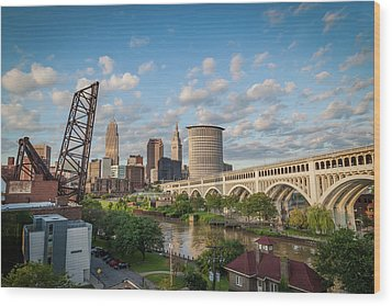 Cleveland Skyline Vista Wood Print