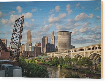 Cleveland Summer Skyline  Wood Print