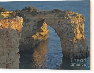 Cliff Arch In Albandeira Beach During Sunset 2 Wood Print by Angelo DeVal