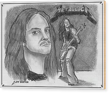 Wood Print featuring the drawing Cliff Burton by Chris  DelVecchio