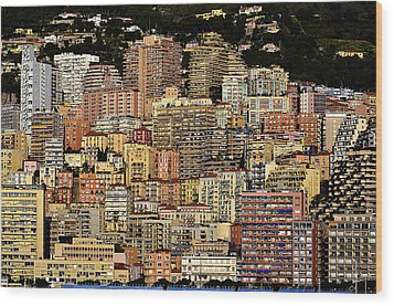 Cliff Dwellers Of Monte Carlo Wood Print by Richard Ortolano