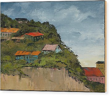Cliff Homes Wood Print by Carolyn Doe