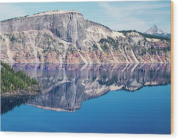 Wood Print featuring the photograph Cliff Rim Of Crater Lake by Frank Wilson